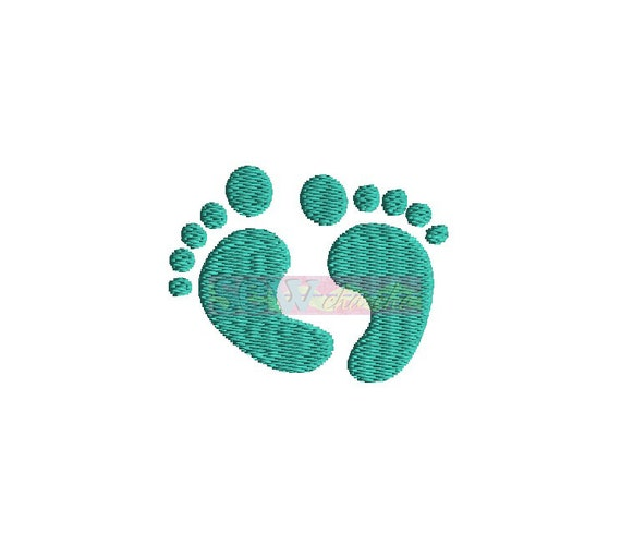 mini baby feet machine embroidery design instant by sewchacha. Black Bedroom Furniture Sets. Home Design Ideas