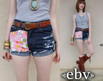High Waisted Shorts Handmade Vintage High Waisted 60s Mod Floral Denim Jean Cut Offs XS S floral cutoffs floral jeans festival shorts
