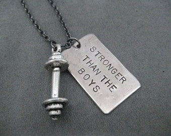 STRONGER Than The BOYS Barbell Necklace - Workout Necklace on Gunmetal chain or Stainless Steel Ball chain - Girl Power - Girls Lift