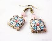 Floral tile Earrings with vintage drawings.Pink, turquoise & white  Herbal earrings. Arabesque.