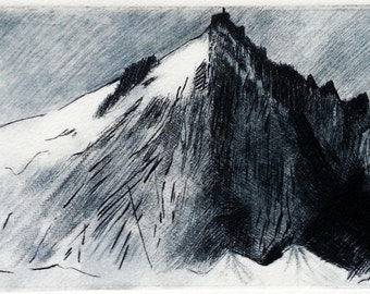 Aiguille Du Midi - Drypoint/engraving print onto watercolour paper