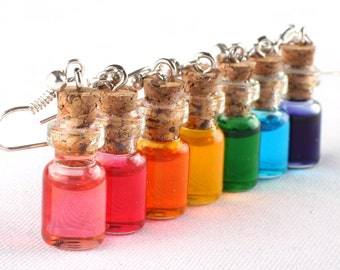 Potion Earrings - dangling, one pair, choose your color, rainbow, colorful, gamer earrings, gamer jewelry, nerdy