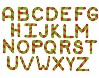 Candy cane font 1, 1 1/2, and 2 inch embroidery design instant download