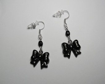 Black Bows & Faceted Beads Silver Earrings