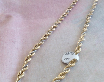 Two Tone GoldenTwisted Chain Necklace