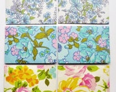 Yellow, blue, pink and green floral notecards Set of 6 - notecards, envelopes and envelope seals
