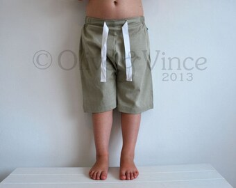 SALE - Board shorts organic cotton 2-3yr light green plain kids beach wear camping organic natural undyed material baby toddler