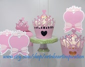 Pink Princess Party Cupcake Wrappers and Toppers
