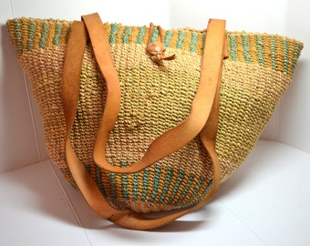 Vintage 80's Sisal Africa Market Bag Tote with Zipper VA19