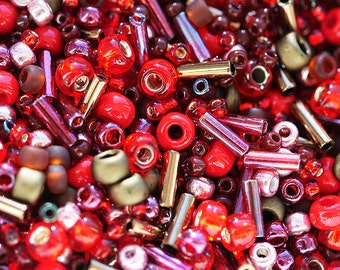 Bronze Red Beads Mix, TOHO Seed beads, red beads, red mix - N 3218, rocailles, glass beads - 10g - S259