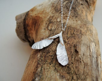Samara Silver Necklace - Maple Seed Sterling Silver Handmade to order