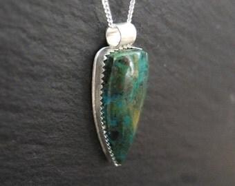 Sale - Chrysocolla Shield Necklace - Sterling Silver