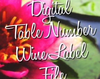 Digital Table Number Wine Label File