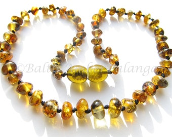 Baltic Amber Teething Necklace, Green Beads
