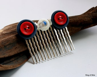 CLEARANCE Silver Hair Comb, Red White Blue Hair Comb, Button Hair Comb, Wire Wrapped Hair Comb, Patriotic Hair Comb, 4th of July Accessories