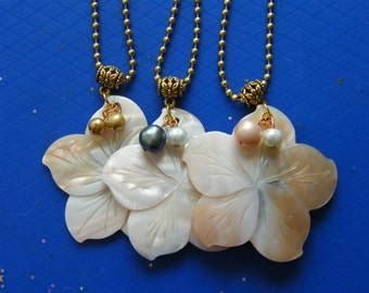 Flower Pendants! Mother of Pearl Flowers, Pearl Accents, Pendants! June Birthstone, Birthday Gift, Anniversary Gift, Holiday Gift, For Her