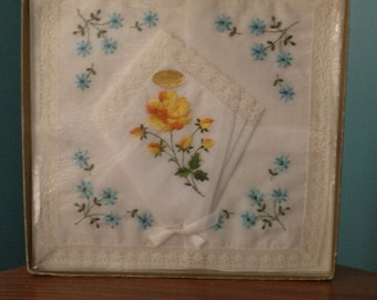 All Cotton Lace Trim and floral Embroidery Handkerchiefs made in Switzerland Set of 5