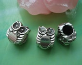 20 pcs 10x8mm Antique silver owls double sided Balls Beads with 4.5mm big holes g974322