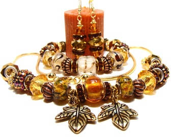 Autumn Leaves Gold Necklace with European Style and Crystal Beads