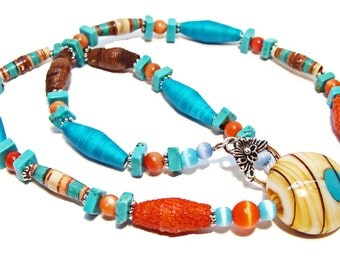 Cowgirl Chic Rust, Turquoise, and Brown Beaded Necklace with Handmade Paper Beads and Glass Beads