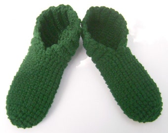 Crochet House Shoes Booties Adult Slippers Hunter Green Men Women Teens