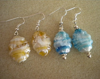 Glossy Marbled Earrings in Blue or Yellow - Lead and Nickel Free Ear Wires - Spring Summer