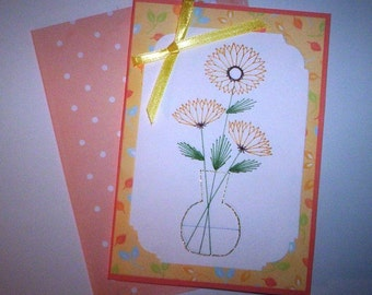 Stitched daisy note card