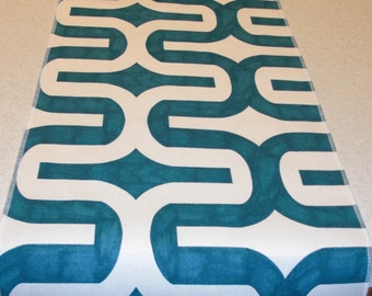 Teal and White Table Runner