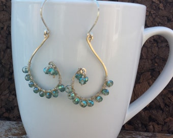 Silver Wire Wrapped Crystal Earrings