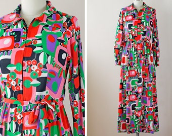 SALE 1970s Mod Dress / 70s Maxi Dress // The Psychedlli Dress