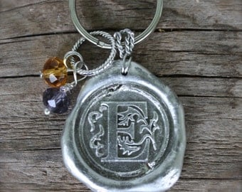 Handmade  Large WAX SEAL KEYCHAIN in Silver color, Personalized Initial Pendent, by Okrrah