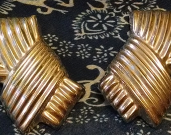 GLAD GLAM GIRL 925 Sterling Silver Ole Dynasty Mexico 1980's Puffed Clip On Mondo Big Earrings so Trendy Now