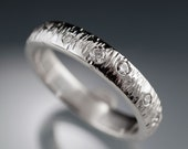 Moissanite Textured Wedding Band in Palladium, Platinum, Yellow Gold, Rose Gold or White Gold 3 to 4 mm width