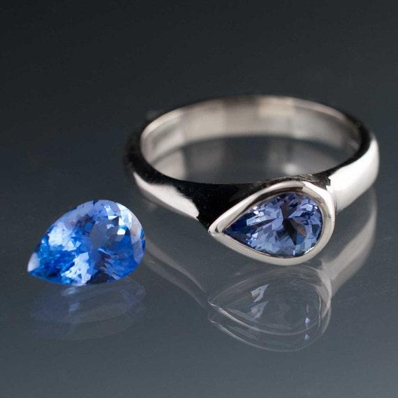 Teardrop Tanzanite: Large Tear Drop Tanzanite Engagement Ring In Silver/Palladium