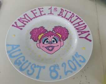 decorative personalized hand painted baby first keepsake birthday keepsake plate bowl abby cadabby sesame street