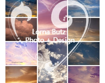 20 Stunning Cloud Overlays add texture and style to your photography Hi Res jpeg downloads for photoshop, variety pack of day, sunset, rain