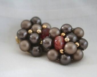Vintage Brown Clip on Cluster Earrings
