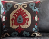 20 x 20 Decorative Pillow Brown Metallic Gold & Red Aztec Boho- FREE SHIPPING and FREE  gift w/purchase