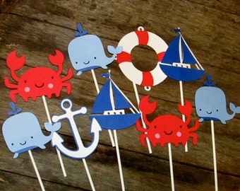 12 Nautical Cupcake topper Sticks, Treat topper sticks Crab, whale, anchor, sailboat