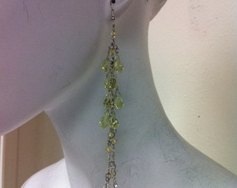 Rain Drops chandelier Dangle Earrings- Made with Yonquill(Yellow) Swarovski Crystals and Silver Plated