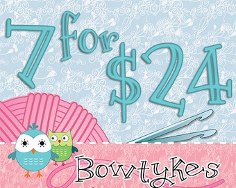 Bowtykes Crochet Pattern Combo Pack - you pick 7 for 24.00
