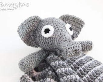 Elephant Lovey CROCHET PATTERN instant download - blankey, blankie, security blanket