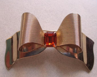 Vintage Coro signed 3D Amber Topaz Rhinestone Bow Pin costume jewelry brooch signed jewelry