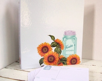 Custom Recipe Binder - Mason Jar with Sunflowers or Hydrangeas - 3 Ring Binder Recipe Card Storage - Wedding, Bridal Shower Gift