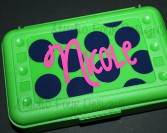 Personalized Pencil Box/ Art Supply Holder - Back to School - Assorted Colors/Designs