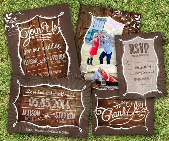 Printable Rustic Wedding Invitation, Reply Card, Save the Date, Thank You - Digital Stationery Bundle - Printable Digital File - DIY