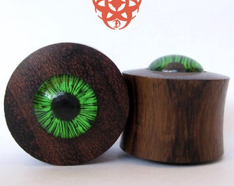 Green Eye Ear Plugs, 1 inch Wood Ear Plugs, Glass Green Eyes, Organic Plugs Gauges, Hand Painted Glass, Ear Tunnels, Pierced Eye Design