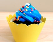 24 CUPCAKE WRAPPERS - YELLOW (Cardstock, Sunshine, Baby Shower, Gender Neutral, Bright, Sun Theme, Sunflowers, Twins, Boy, Girl, Sunny, Fun)