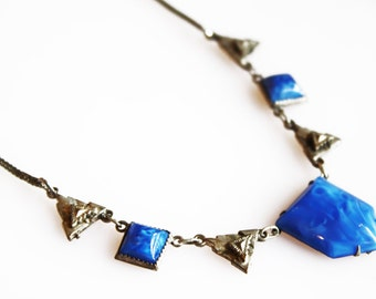 Vintage Art Deco Blue Satin Stone Necklace