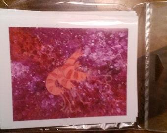 3 per pack Shrimp note cards